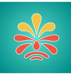 Vintage floral emblem design red vector