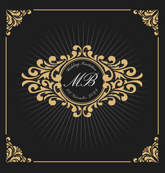 vintage luxury monogram logo template vector image