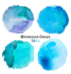 Watercolor Blue and Purple Colorful Circles Set vector image