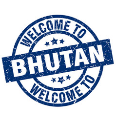 Welcome to bhutan blue stamp vector