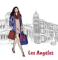 Woman on rodeo drive vector