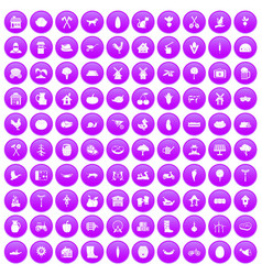 100 farm icons set purple vector