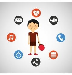 Sportsman ping pong apps icons vector