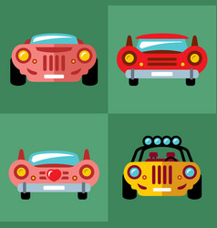 Set of cars flat style colorful cartoon vector