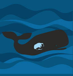 the prophet jonah in the womb of the whale vector image