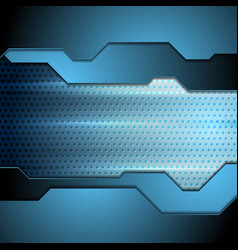 Blue tech perforated carbon background vector