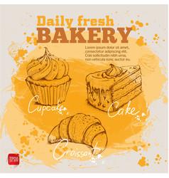 Hand drawn sketch cupcake cake croissant vector