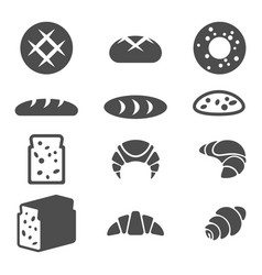 Set of grey icons of bakery products isolated vector