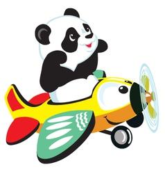 Panda flying with plane vector