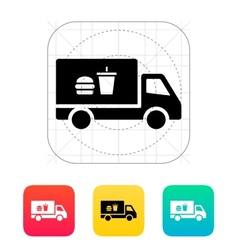 Truck with food icon vector