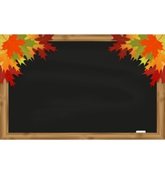 Maple leaves on black chalkboard vector
