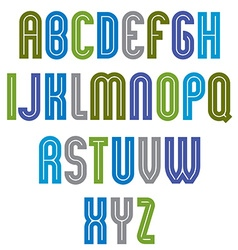 Striped font geometric bright typeface with vector
