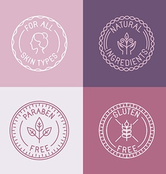 Set of badges and emblems in trendy linear style vector