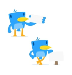 set of funny cartoon blue bird vector image