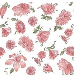 Pink flowers over white spring seamless pattern vector