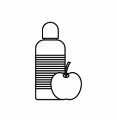 Bottle of water and apple icon outline style vector