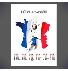 Signs football championship with player and ball vector