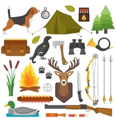 Hunting symbols set vector