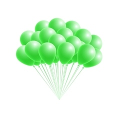 Bunch birthday or party green balloons vector