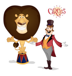 Circus tamer and lion posing vector