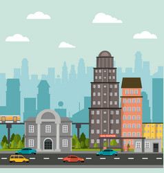 Cityscape building gas station bank urban road vector