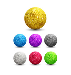 Color shiny metallic spheres set vector