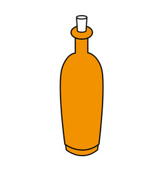 Color silhouette with spa bottle with cork vector