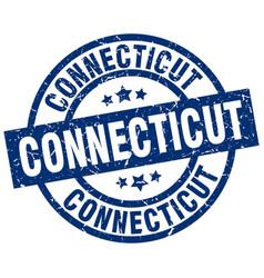 Connecticut blue round grunge stamp vector
