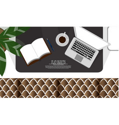 Flat object design set working space on the couch vector