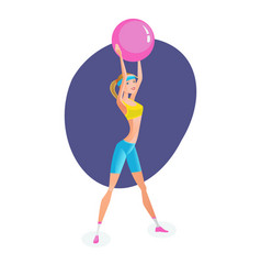 Girl engaged exercise therapy exercises with ball vector