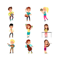 happy children musicians with musical instruments vector image vector image