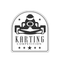 Karting Club Race Black And White Logo Design vector image