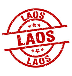 laos red round grunge stamp vector image vector image