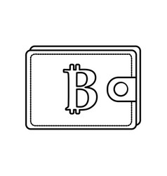 Line bitcoin symbon in the wallet to save money vector
