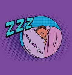 Retro man sleeping in bed vector