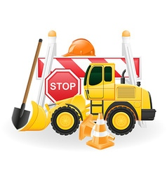 road works concept icons vector image vector image