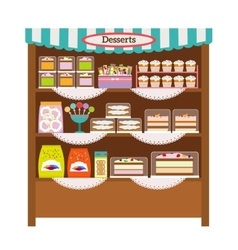 Showcase with desserts vector