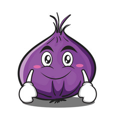 Smile red onion character cartoon vector