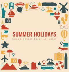 summer holidays background with travel icons vector image