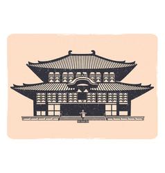Vintage tradition asian house emblem - grunge vector