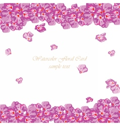 Watercolor pink flowers card vector