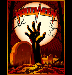 Zombie hand cemetery halloween vintage background vector