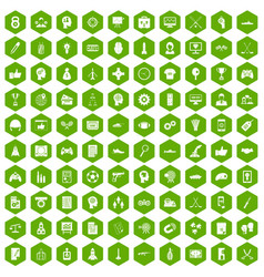 100 strategy icons hexagon green vector