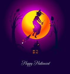 Card halloween witch violet vector