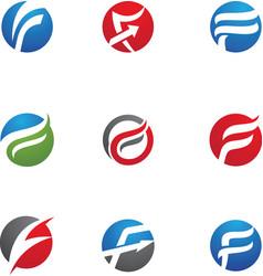 F letter logo template vector