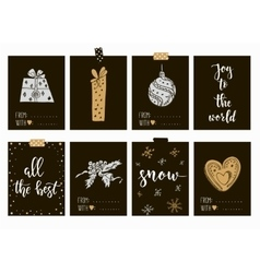 Merry Christmas and Happy New Year vintage gift vector image