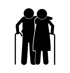 Pictogram elderly couple with walking stick vector