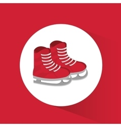 Red ice skate winter sport badge icon vector