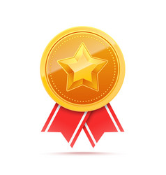 3d gold medal with star and red ribbon vector