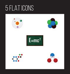 Flat science set of milky way proton molecule vector